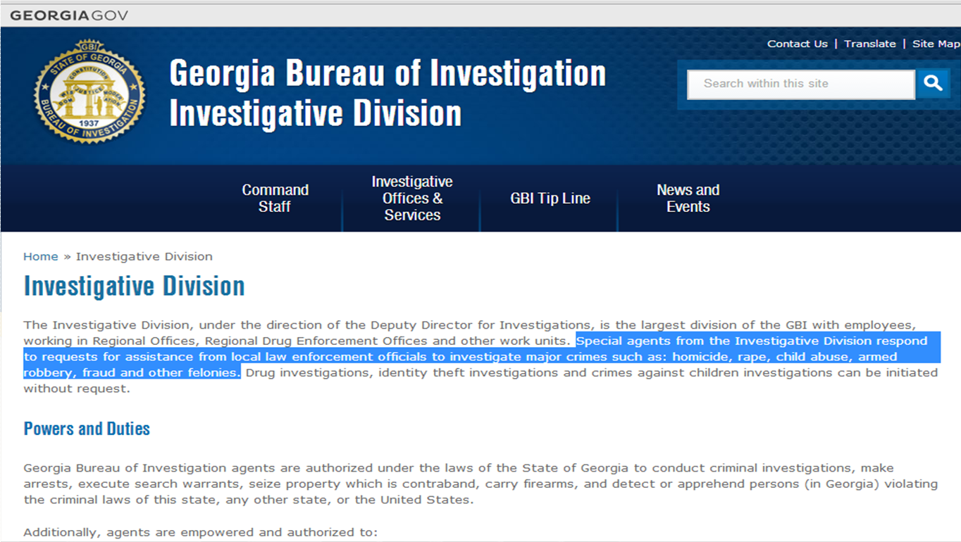 GBI Bylaws of originating investigations